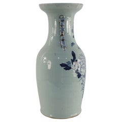 Chinese White and Blue Natural Design Porcelain Urn