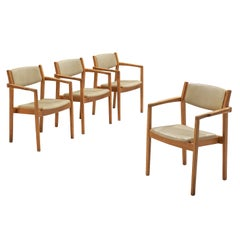 Set of Four Danish Armchairs in Oak and Leatherette
