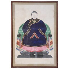 Framed Chinese Pen and Ink Ancestor Portrait in Navy
