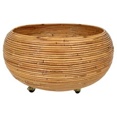 Rattan Round Flower Stand Plant Holder, Italy, 1960s
