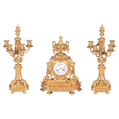 19th Century Antique French Neoclassical Style Gilt Bronze Clock Garniture
