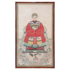 Framed Chinese Ancestor Portrait Print with Red Robes