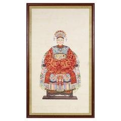 Framed Vintage Chinese Pen and Ink Ancestor Portrait in Red