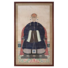 Framed Chinese Pen and Ink Ancestor in Navy Robes Portrait