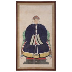 Framed Chinese Pen and Ink Ancestor Portrait in Navy Dress