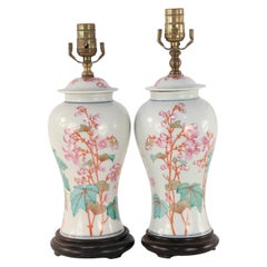 Pair of Chinese Off-White Orange and Pink Floral Motif Porcelain Table Lamps