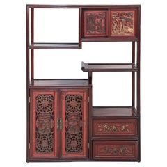 Chinese Carved Wood and Red Accented Bogu Etagere Shelf