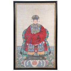 Framed Chinese Pen and Ink Ancestor Portrait in Red Dress