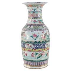 Chinese Multicolor Banded Pattern Porcelain Urn