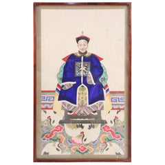 Framed Chinese Ancestor Portrait Print with Royal Blue Robes