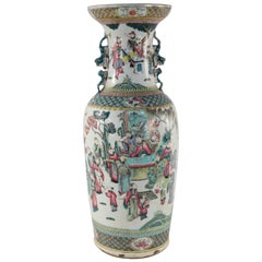Chinese White and Figurative Pastoral Scene Porcelain Urn
