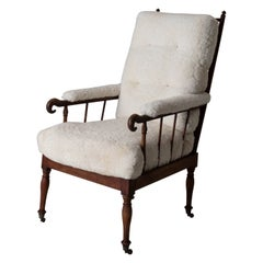 Armchair Tall Back Swedish Shearling White Brown Frame 19th Century Sweden