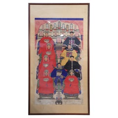 Framed Chinese Pen and Ink Family Ancestor Portrait
