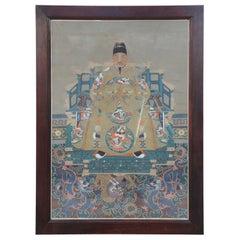 Framed Chinese Ancestor Portrait Depicting a Man in Golden Robes