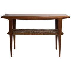 Mid-Century Modern Scandinavian Wood Rattan Webbing Coffee Table, Sweden, 1950