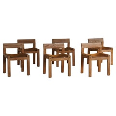 Mid Century Danish Dining Chairs in Solid Pine and Leather, Set of Six, 1970s