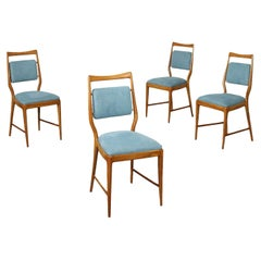 Group of Four Chairs Stained Beech Foam Fabric, 1950s 1960s