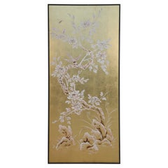 Chinese Framed Acrylic and Gold Leaf Painted Panel of a Flowering Tree