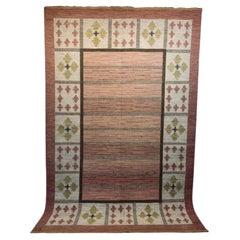 Mid Century Swedish Wool Kilim by Ida Rydelius Geometric Design Tassel Edged