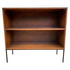Midcentury Paul McCobb Single Bookcase #1516 Walnut Finish Iron Base Clean