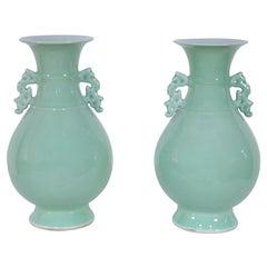 Pair of Chinese Celadon Balluster Vases