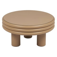 Low Round Leather Coffee Table Scala by Stephane Parmentier for Giobagnara