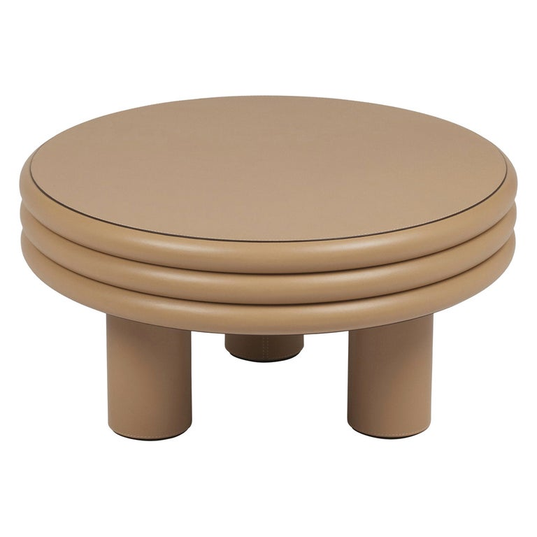 Low Round Leather Coffee Table Scala by Stephane Parmentier for Giobagnara For Sale