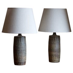Gunnar Nylund, Sizable Table Lamps, Glazed Stoneware, Rörstand, Sweden, 1950s