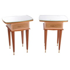 Design Italian Solid Wood Bedside Tables from the 1950s