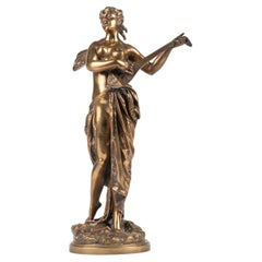 Late 19th Century Bronze Statue Musical Fairy by Wagnot