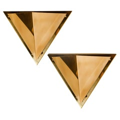 1 of the 5 Pyramid Shaped Massive Brass Wall Lamps, 1970s