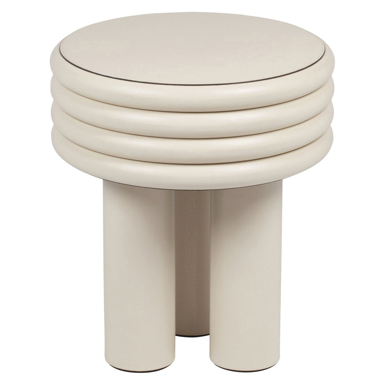 Tall Round Leather Side Table Scala by Stephane Parmentier for Giobagnara