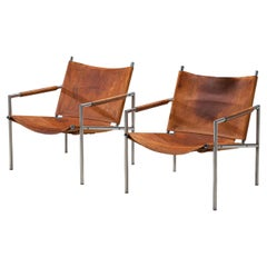Martin Visser Pair of Armchairs in Patinated Cognac Leather