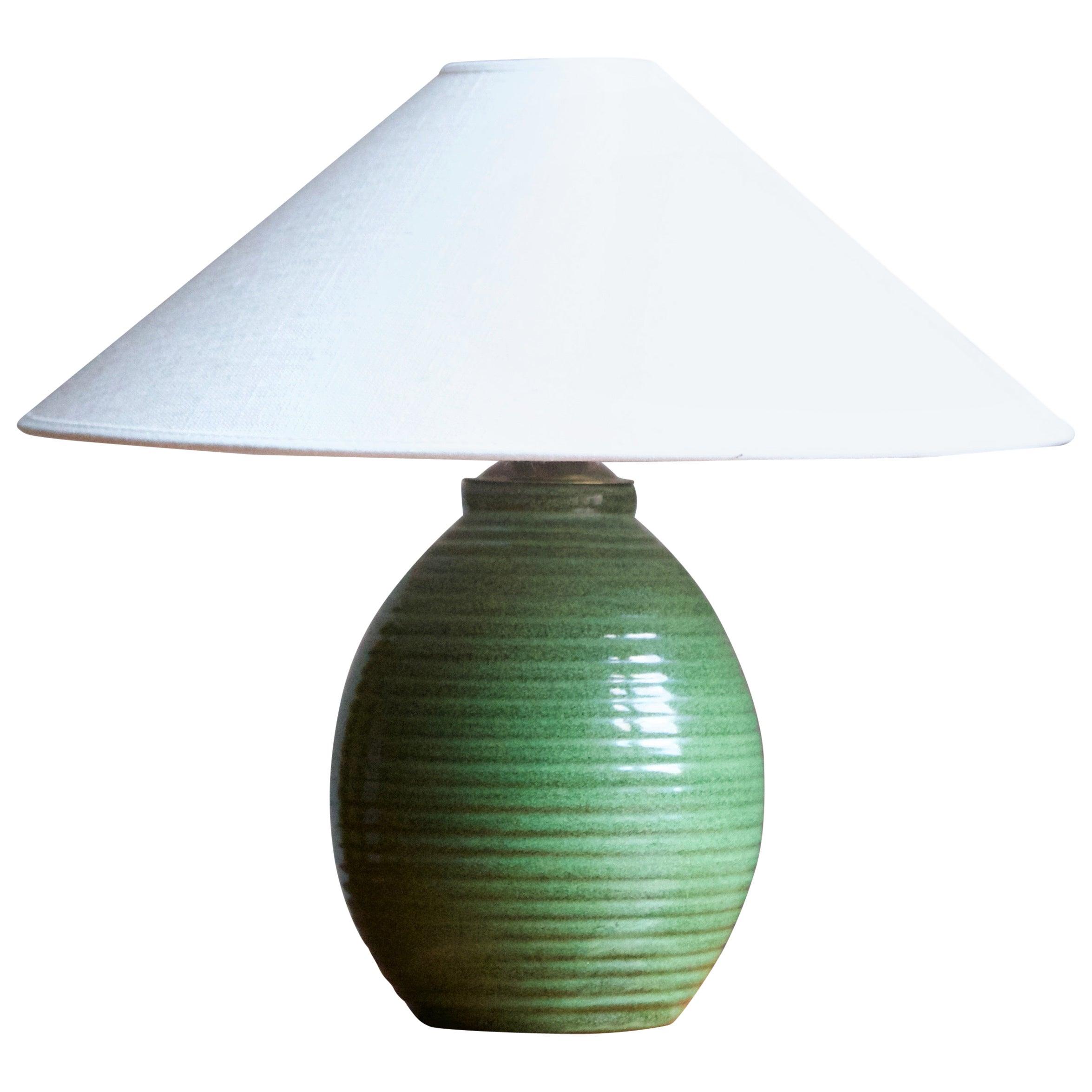 Erik Mornils, Table Lamp, Green Glazed Ceramic, Brass, Nittsjö, Sweden, 1940s
