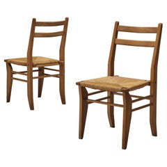 Guillerme & Chambron Pair of Dining Chairs in Oak and Cane