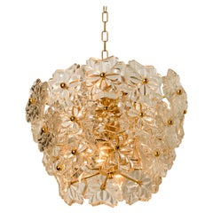 Glass and Brass Floral Three Tiers Light Fixture from Hillebrand, 1970s