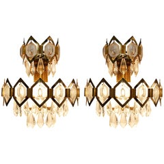 Set of Crystal Glass and Brass Sconces