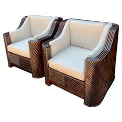 Pair of Pencil Reed Rattan Chairs
