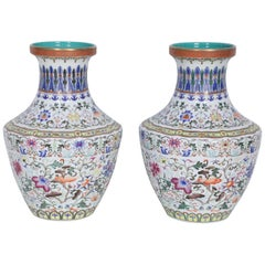 Pair of Chinese Multi-Color Pattern Porcelain Vases