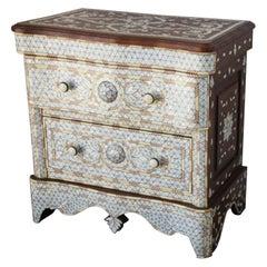 White Inlay Moorish Syrian Style Nightstand Dresser