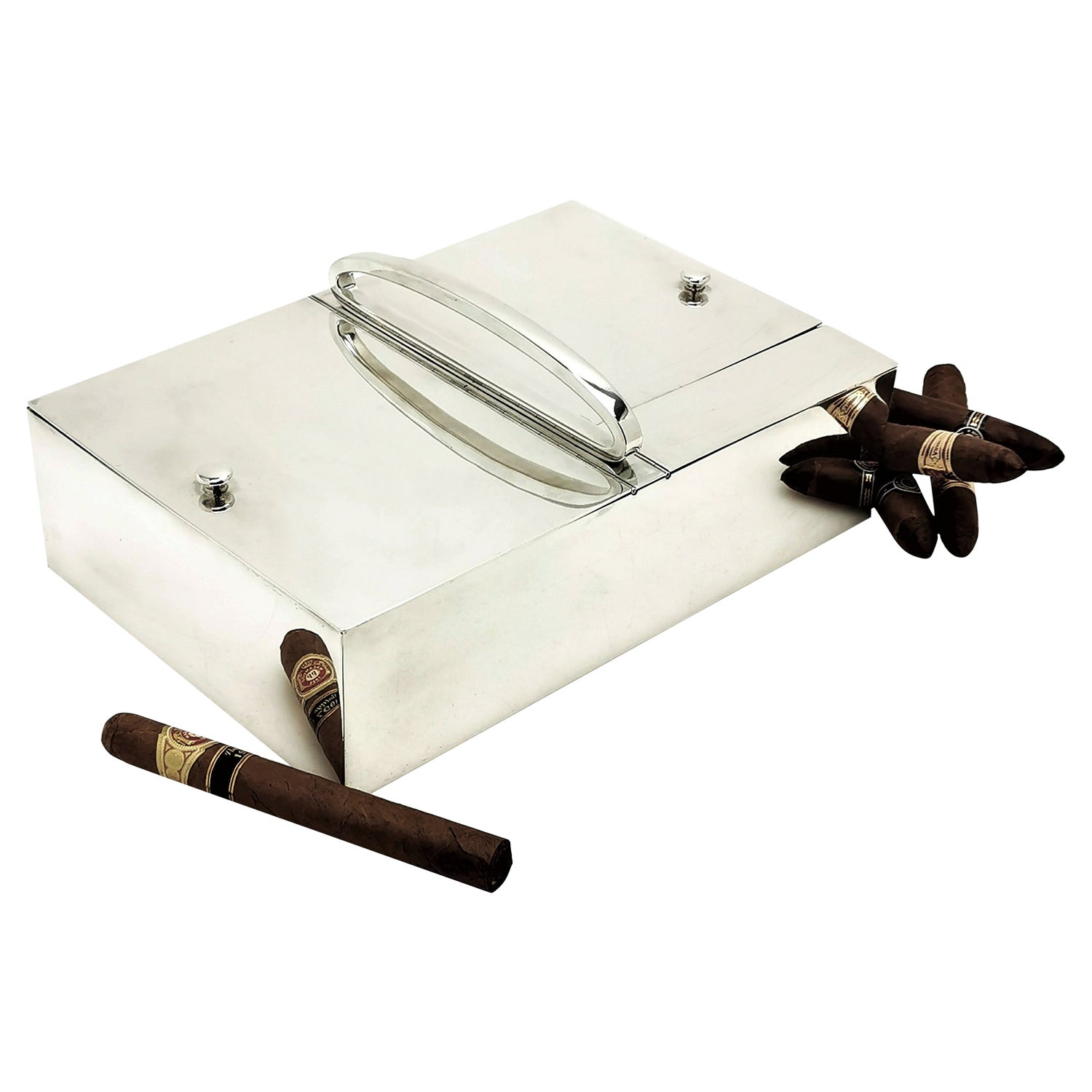 Large Antique French Solid Silver Cigar Box Cigarette Smokers Companion c. 1910