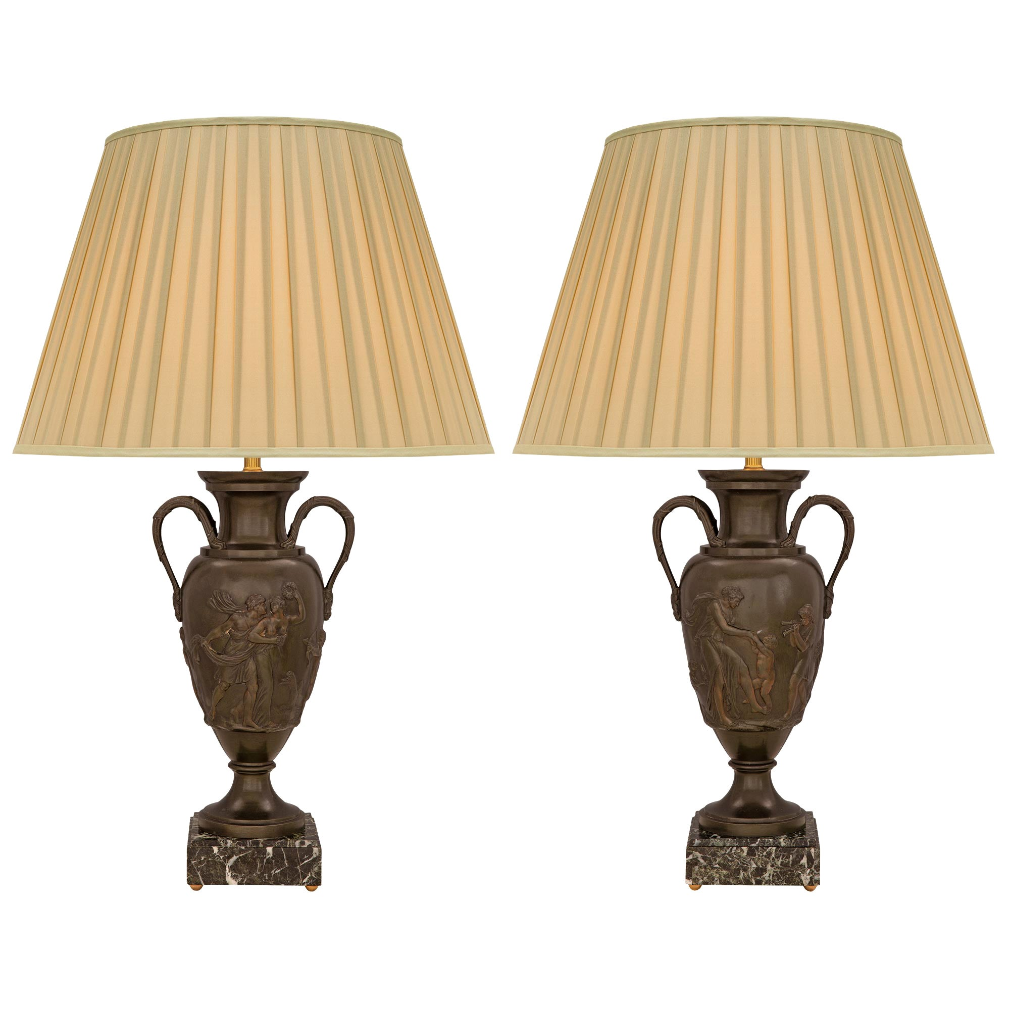 Pair of French 19th Century Neo-Classical St. Patinated Bronze Urns Lamps