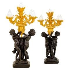 Pair 19th Century Gilt Bronze Napoleon Style 4 Branch Cherub Candlelabras
