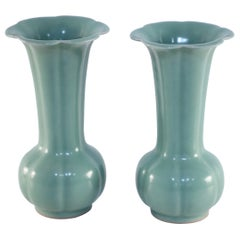 Pair of Chinese Fluted and Scalloped Celadon Porcelain Vases