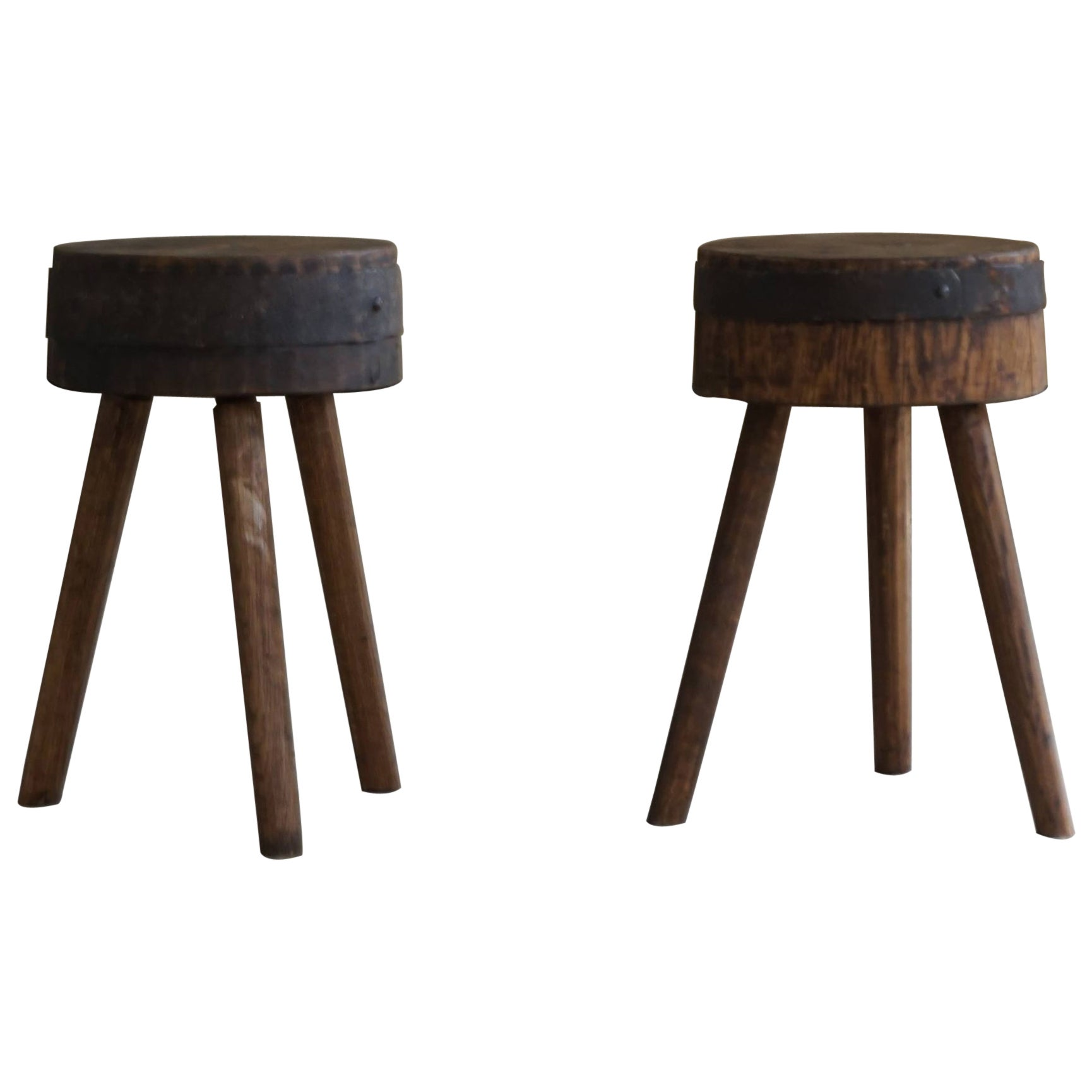 Pair of Swedish Rustic Stools in Solid Wood, Early 20th Century