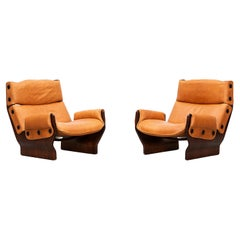 1960s Wood and Leather Pair of Lounge Chairs by Osvaldo Borsani