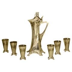 Rare Art Nouveau Silvered Pewter Liqueur Set by W.M.F