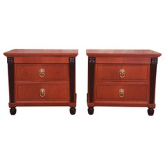 Bake Furniture Neoclassical Mahogany and Parcel Ebonized Nightstands, Refinished