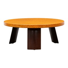 1950s Round Brown Cork and Mahogany Coffee Table by Paul Frankl