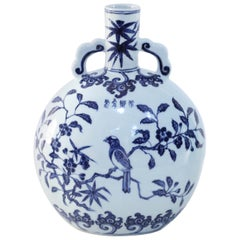 Chinese White and Blue Cherry Blossom Porcelain Moon Flask Vase